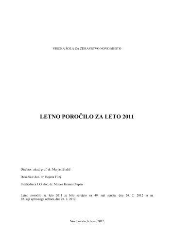 Poslovno poročilo za leto 2011 - Visoka šola za zdravstvo Novo ...