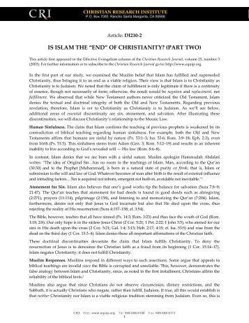 Islam the End of Christianity? - Equipresources.org