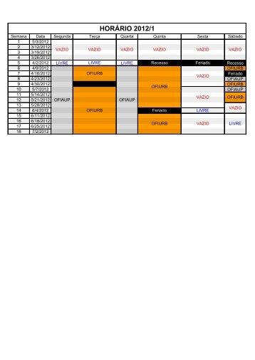 HORÁRIO 2012/1 - Escola de Arquitetura - UFMG