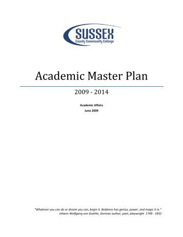 Academic Master Plan - Sussex County Community College
