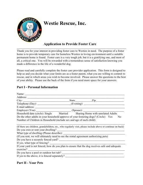 Westie Rescue, Inc  Application to Provide Foster Care