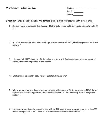 Worksheet Gas Laws - Chemistry At Central High School
