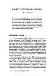 BALMES Y EL CRITERIO PARA FILOSOFAR 1. Fidelidad a la ...
