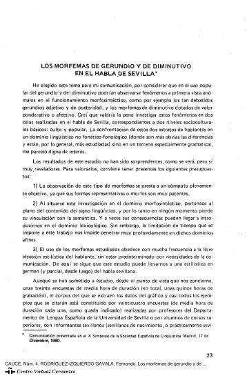 Los morfemas de gerundio y de diminutivo en el habla de Sevilla