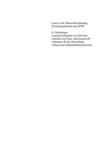Laser in der Materialbearbeitung Forschungsberichte des IFSW