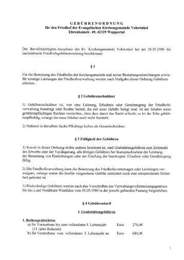 Friedhofsgebührenordnung vom 23.09.2008 - Evangelische ...