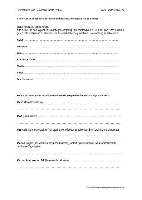 Anamnesebogen Pdf Isolde Richter
