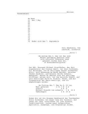 Vorsatzblatt de Anno 63 den 7 May 64 65 66 67 68 69 70 71 72 73 74