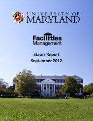 status report 2012 - Facilities Management - University of Maryland