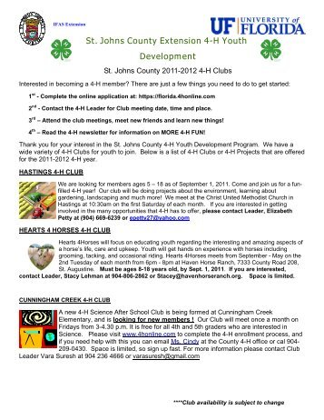 St. Johns County Extension 4-H Youth Development