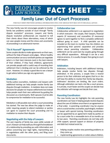 Out of Court Processes - People's Law School