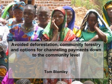 Avoided deforestation, community forestry and options for ...