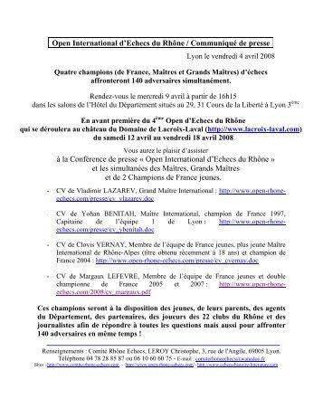 Open International d'Echecs du Rhône / Communiqué de presse à ...