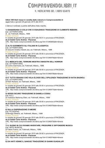 Ultimi 300 titoli messi in vendita dalle Librerie in Comprovendolibri.it ...