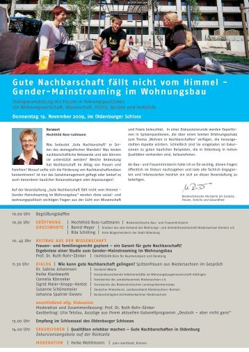 gender-Mainstreaming im wohnungsbau