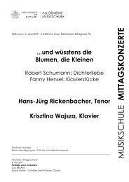MUSIKSCHULE MITTAGSKONZERTE - Musik-Akademie Basel