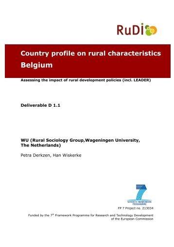 Country profile on rural characteristics Belgium - RuDI