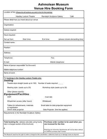 Ashmolean Museum Venue Hire Booking Form - The Ashmolean ...