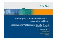 An analysis of homeostatic failure in subjective wellbeing - NATSEM