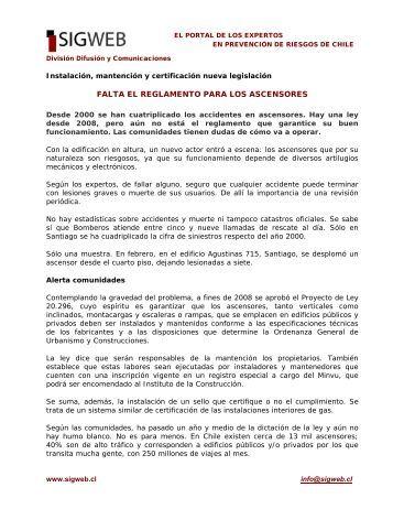 FALTA EL REGLAMENTO PARA LOS ASCENSORES - Sigweb