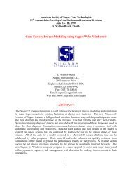 Cane Factory Process Modeling using Sugars™ for Windows® ABSTRACT