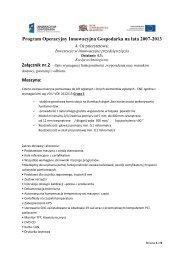 Program Operacyjny Innowacyjna Gospodarka na lata 2007-2013 ...
