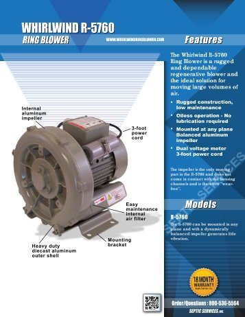 Whirlwind R-5760 Ring Blower Product Flyer - Septic Services