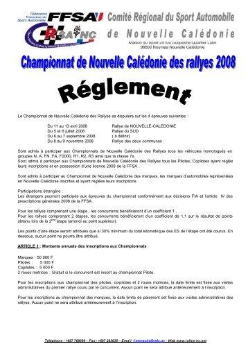 Réglement Championnat de NC des Rallyes 2008 - Rallye de ...