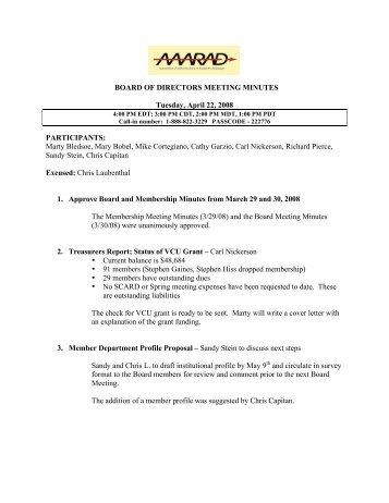 AAARAD Board of Directors Meeting Minutes