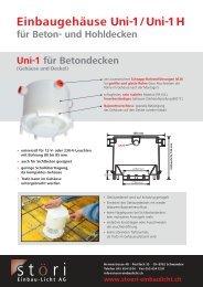 Einbaugehäuse Uni-1 / Uni-1 H für Beton- und ... - Störi Licht AG