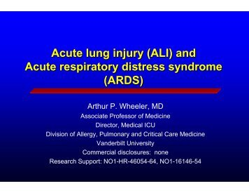 Acute lung injury (ALI) and Acute respiratory distress syndrome ...