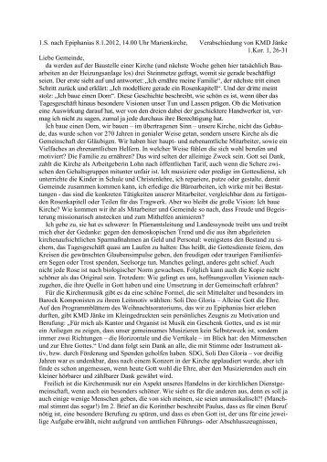 Predigt Verabschiedung KMD Jänke, 8.1.2012, Pfr. Pohl - Kirchspiel ...