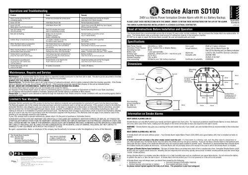 sd100 smoke alarm sheet  pdl