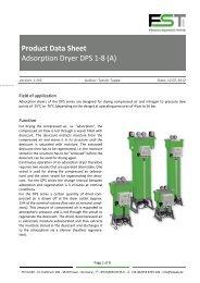 Product Data Sheet Adsorption Dryer DPS 1-8 (A) - FST GmbH, Essen