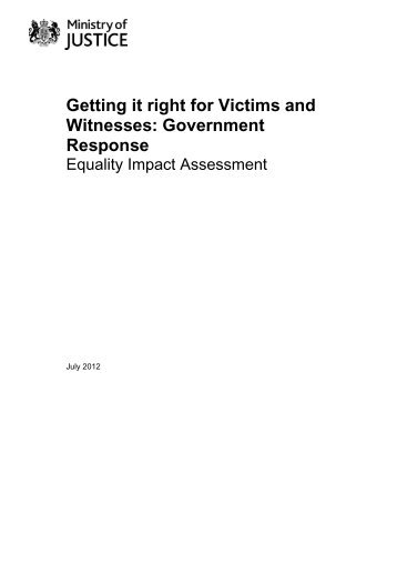 equality impact assessment - Ministry of Justice