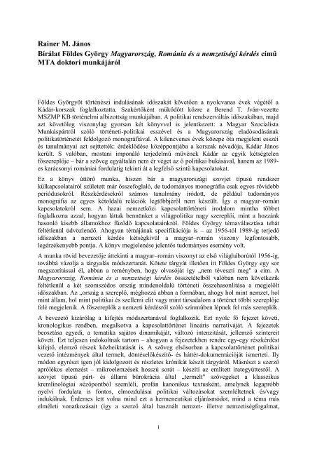 Bírálat Földes György Magyarország, Románia és a ... - Grotius