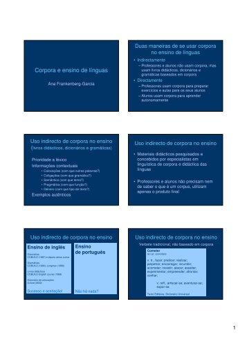 Corpora e ensino de línguas - Linguateca