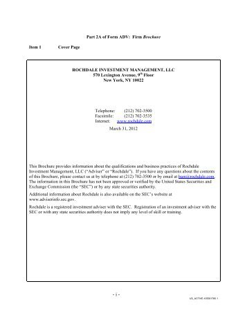 APPENDIX B - Sample ADV Part II with ADV Schedule F - Managing ...