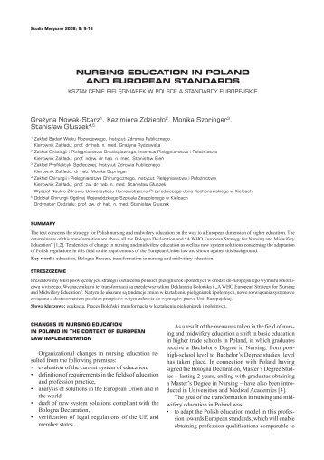 Ksztalcenie pielegniarek w Polsce a standardy europejskie