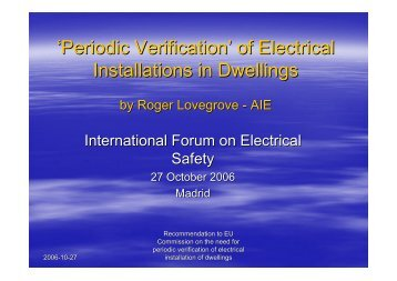 'Periodic Verification' of Electrical Installations in Dwellings - AIE