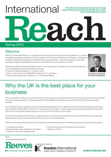 Spring 2012 – Why the UK is the best place for your business - Reeves