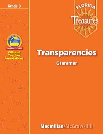 Grammar Transparencies - Treasures - Macmillan/McGraw-Hill