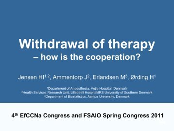 Withdrawal of therapy: How is the cooperation?