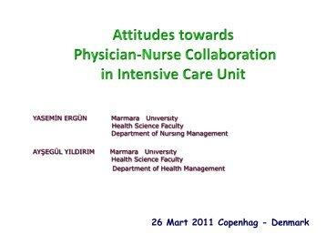 Session 18.3 Attitudes towards physician-nurse collaboration in ICU ...