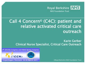 Session 24.4 Call for Concern (C4C)-Patient and relative activated ...
