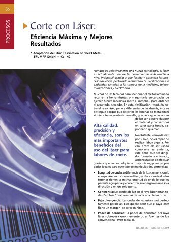 Procesos - Corte con Laser - Revista Metal Actual