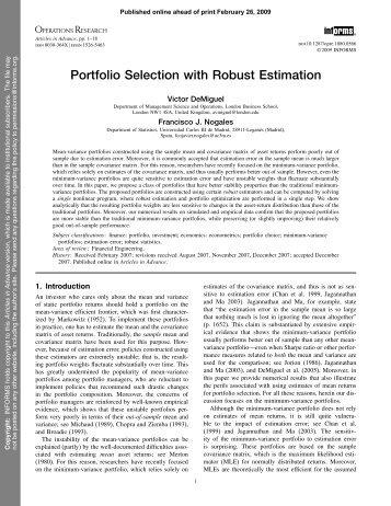 Portfolio Selection with Robust Estimation - Universidad Carlos III de ...