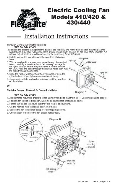 Flex-A-Lite Cooling Systems Installation Instructions ... on 24 volt thermostat wiring diagram, flex fuel wiring diagram, starter relay wiring diagram, flex-a-lite fan controller, msd ignition wiring diagram, flex-a-lite fans for street rods, electric cooling fan circuit diagram, automotive relay wiring diagram, alternator wiring diagram, double pole relay wiring diagram, 87a relay wiring diagram, bathroom electrical diagram, push button starter wiring diagram,