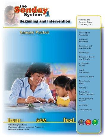 Sonday System 1 Sample Lesson Plan Packet (PDF) - Winsor ...