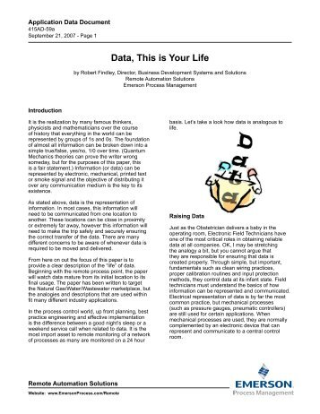 Data, This is Your Life - Emerson Process Experts